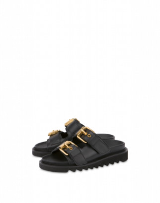 Moschino Sandals With Buckles Woman White Size 35 It - (5 Us)
