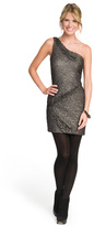 Christian Cota One Shoulder Metallic Lace Dress