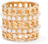 New York & Co. Faux-Pearl Chain-Link Ring