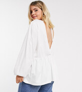 Asos DESIGN Curve smock with blouson long sleeve and tie back