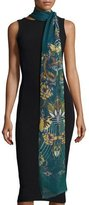 Roberto Cavalli Absinthe Printed Cashmere-Blend Stole, Blue/Yellow
