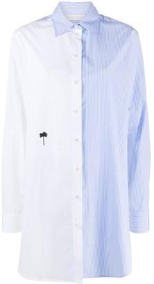 Palm Angels Panelled Pinstripe Cotton Shirt