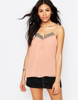 Daisy Street Cami Top With Botton Front And Metallic Trim