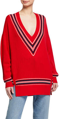 Rag & Bone Dianna V-Neck Long Sweater Varsity Stripes