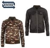 Lee Cooper Womens Reversible Bomber Jacket Coat Top Lightweight Zip Print