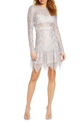 Foxiedox Clara Crochet Lace Long Sleeve Cocktail Dress