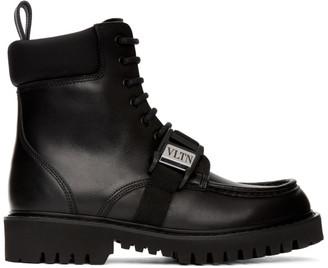 Valentino Black Garavani Leather VLTN Combat Boots