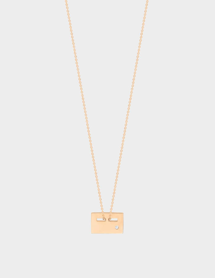 ginette_ny Exclusive Mini Plate & Diamond 18-karat rose gold necklace