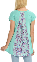 Magic Fit Mint & Purple Floral Color Block Split Back Top