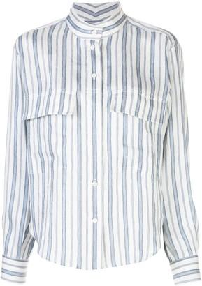 Frame Mandarin Collar Striped Shirt