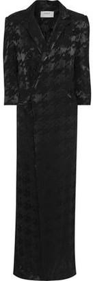 BA&SH Nimea Double-breasted Houndstooth Jacquard Maxi Dress