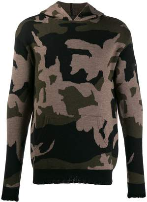 John Richmond camouflage knitted hoodie