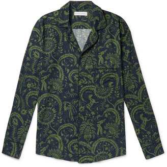 Desmond & Dempsey Camp-collar Printed Cotton Pyjama Shirt - Green