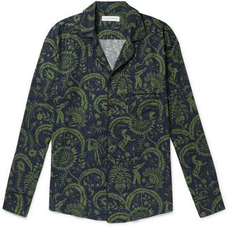 Desmond & Dempsey Camp-Collar Printed Cotton Pyjama Shirt - Men - Green