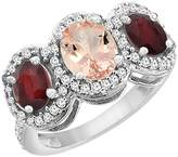 PIERA 10K White Gold Natural Morganite & Enhanced Ruby 3-Stone Ring Oval Diamond Accent, size 6.5