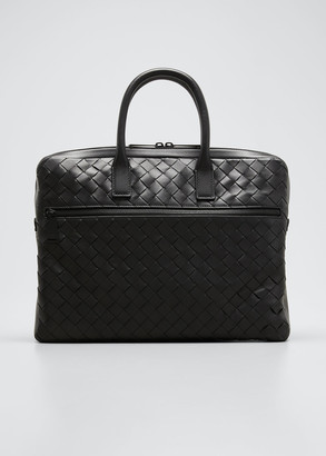 Bottega Veneta Men's Borsa Large Woven Leather Briefcase