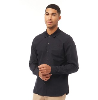 Fred Perry Mens Knitted Collar Oxford Long Sleeve Shirt Navy