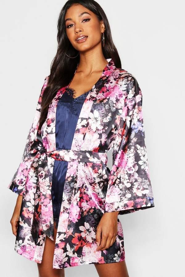 boohoo Digital Floral Satin Kimono Robe