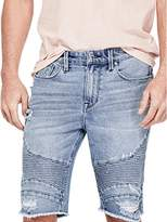 GUESS Men's Slim Moto Short with Stitching