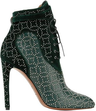 Alaia Studded Lace-up Leather And Suede Ankle Boots