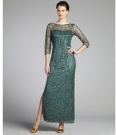 Kay Unger fir lace sequined three quarter sleeve gown