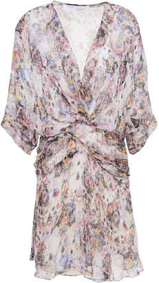 IRO Gazania Gathered Printed Silk-chiffon Mini Dress