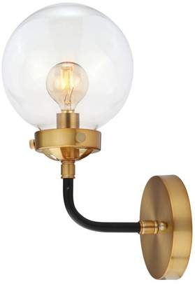 "Jonathan Y Designs Caleb 1-Light 8"" Brass Wall Sconce, Black and Brass"