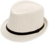 White & Black Faux Leather-Trim Fedora