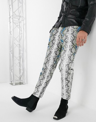 Asos EDITION tapered pants in gray faux leather with snake print and neon