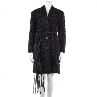 Lanvin Black Mongolian Lamb Coat for Women