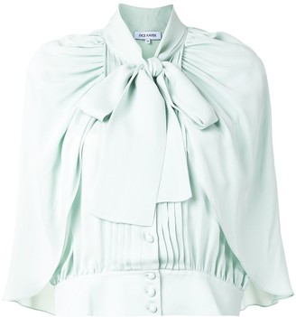 Dice Kayek Cropped Cape-Sleeve Blouse
