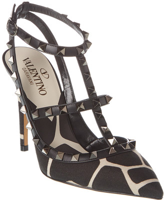 Valentino Rockstud Caged 100 Canvas & Leather Ankle Strap Pump