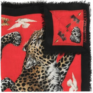 Alexander McQueen Leopard Motif Silk Shawl