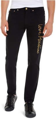 Love Moschino Men Slim-Fit Stretch Metallic 3D Logo Jeans
