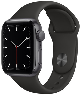 Apple Watch SE GPS, 40mm Space Gray Aluminum Case with Black Sport Band - Regular
