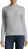Neiman Marcus Open-Stitch Cable-Knit Sweater, Mist Gray