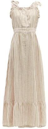 Wiggy Kit - Scallop-edged Striped Linen Dress - Pink Stripe