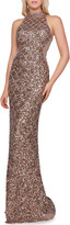 Mac Duggal 6-Week Shipping Lead Time Scallop Sequin High-Neck Sleeveless Column Gown