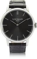 Locman 1960 Stainlees Steel Men's Watch w/Black Croco Embossed Leather Strap