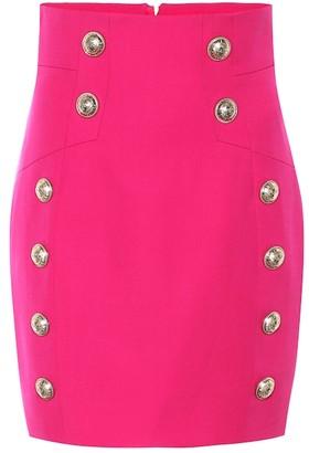 Balmain High-rise wool miniskirt