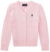 Polo Ralph Lauren Cable Knit Cotton Cardigan (Little Kids) (Hint of Pink/Nevis Pony Player) Girl's Sweater