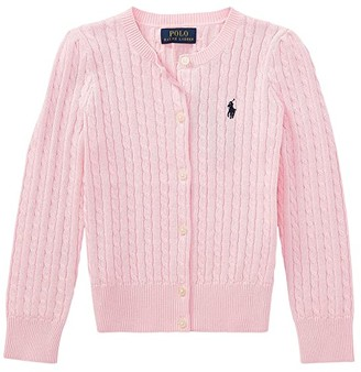 Polo Ralph Lauren Kids Cable Knit Cotton Cardigan (Little Kids) (Hint of Pink/Nevis Pony Player) Girl's Sweater