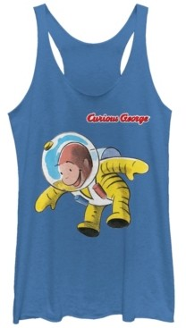 Fifth Sun Curious George Happy Astronaut Portrait Tri-Blend Racer Back Tank
