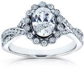Kobelli Jewelry Kobelli 1 CT TW Oval-Cut Diamond 14K White Gold Antique Halo Engagement Ring