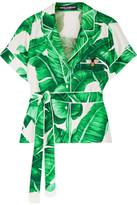 Dolce & Gabbana Printed Silk-twill Shirt - Green