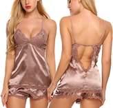 Avidlove Women Sexy Nightwear V neck Sleepwear Satin Pajama Set Lace Cami Shorts (L, )