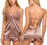 Avidlove Women Sexy Nightwear V neck Sleepwear Satin Pajama Set Lace Cami Shorts M