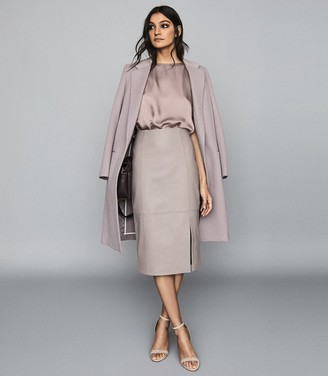 Reiss Grace - Leather Pencil Skirt in Grey