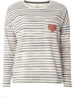 Dorothy Perkins Womens **Only Blue And White Stripe Heart Pocket Sweatshirt- Blue