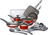 Farberware High Performance Aluminum Nonstick Cookware Set, 17-pc, Red - Red